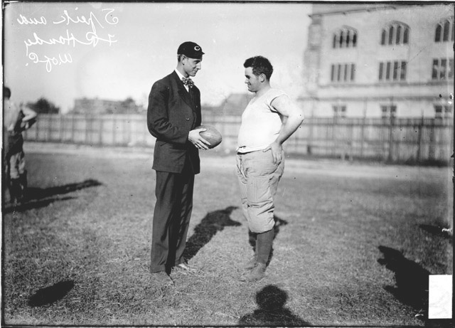 Coach Speik making a presentation for the Chicago Press 1909