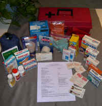 Types of materials for assembling several first aid kits