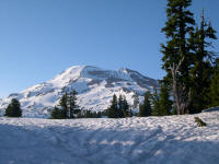 Late afternoon view of South Sister along the approach route.