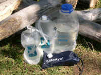 Hydration system. Get water from the stream, pump or boil from the big bag