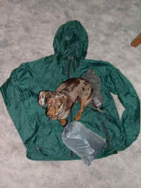 Essential summer wind shirt and pants 14.5 oz including stuff sacks.  Max weighs 10 pounds,