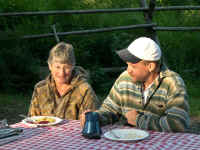 Patty Bowers, retired ODFW Biologist and volunteer chef with ODOT's Chuck Howe